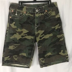 True religion camo button fly shorts 34W surf